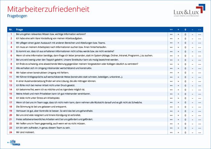 Lux&Lux Fragebogen